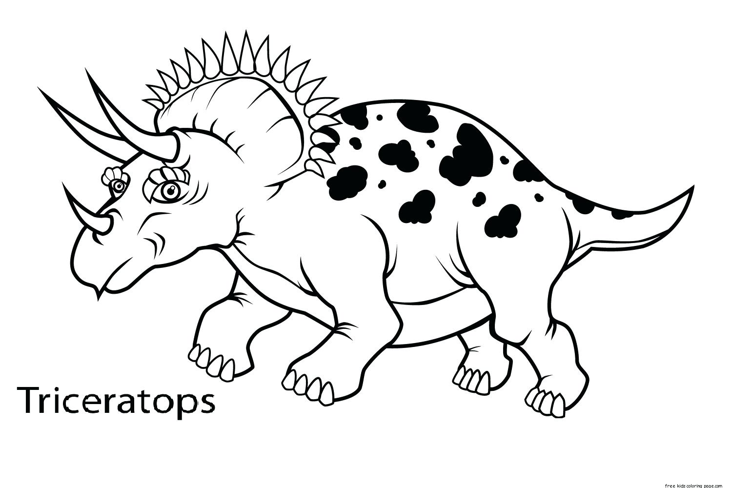 1500x1000 Free Printable Realistic Dinosaur Coloring Pages Triceratops Page