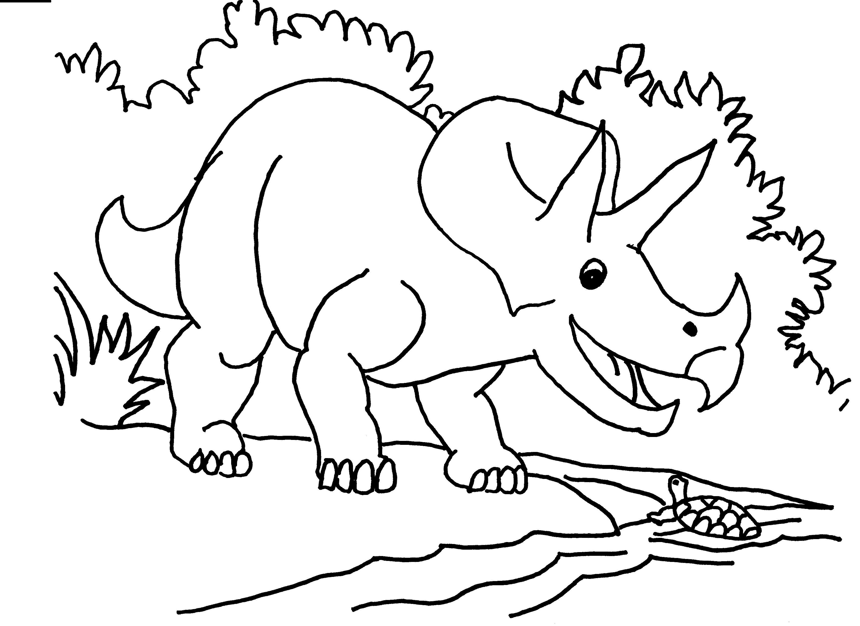 3501x2550 Brilliant Dinosaur Coloring Pages With Triceratops Coloring Page