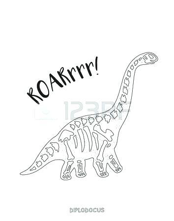 354x450 Dinosaur Skeleton Coloring Pages Skeleton Outline Drawing Fossil