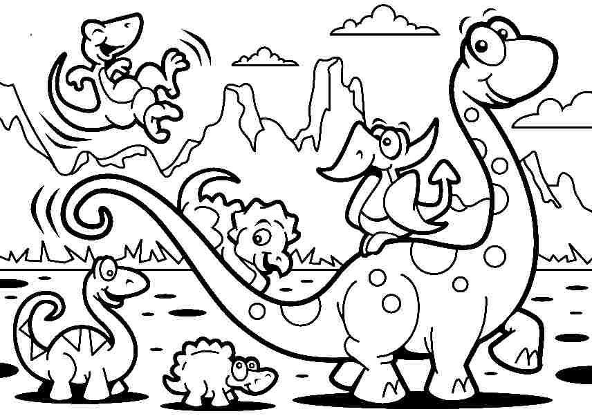 856x602 Free Coloring Sheets Animal Cartoon Dinosaurs For Kids Boys