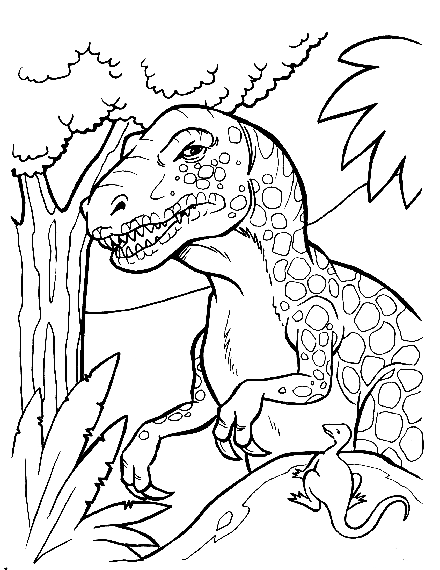 1700x2200 T Rex Coloring Pages Free