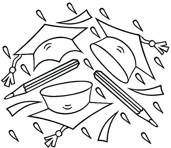 600x520 Graduation Cap And Gown Coloring Pages Color