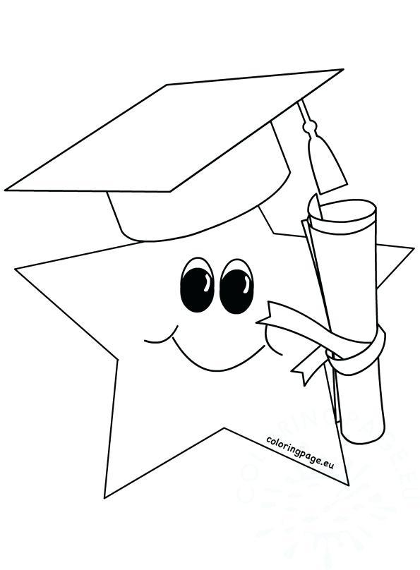 595x808 Graduation Cap Coloring Page Cute Graduate Star Graduation Cap