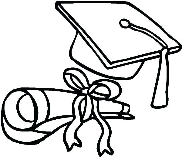 600x517 Graduation Cap Coloring Page Graduation Cap And Gown Coloring