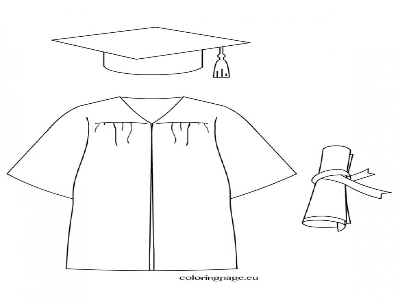 1280x960 Graduation Gown Coloring Pages Cap Diploma Dress Page