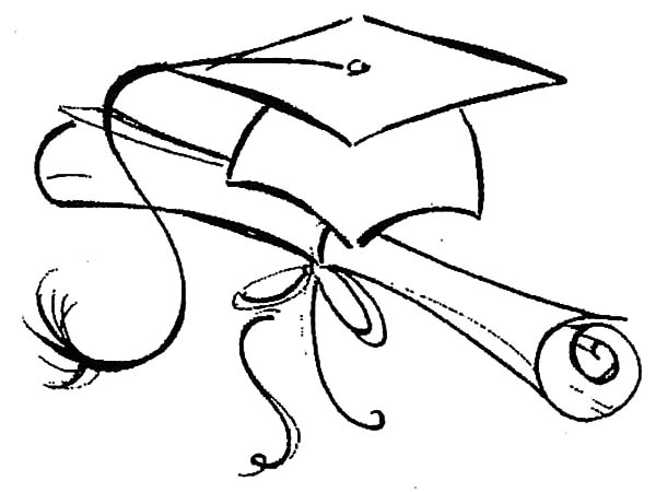 600x450 Northwoods Sketch Graduation Cap And Diploma Coloring Pages