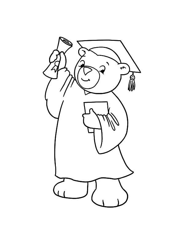 600x776 Graduation, Graduation Bear Show His Diploma Coloring Pages