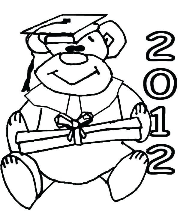 600x748 Graduation Cap And Diploma Outline Coloring Pages Graduation Cap