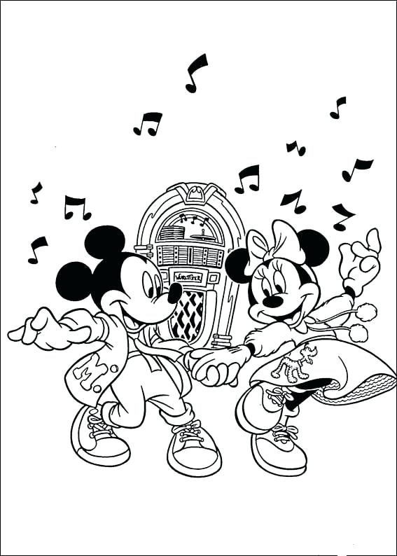 567x794 Disco Ball Coloring Page And Mickey Dancing With Old Song Coloring