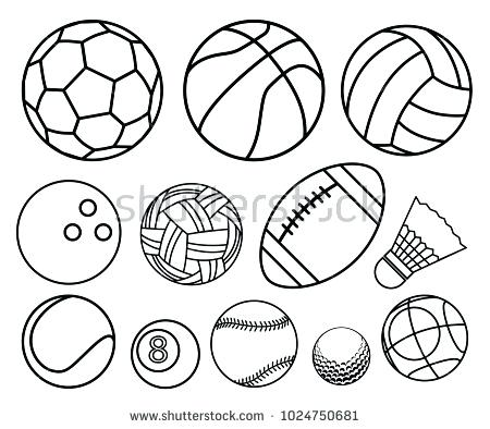 450x394 Disco Ball Coloring Page Ball Sport Outline Vector Set