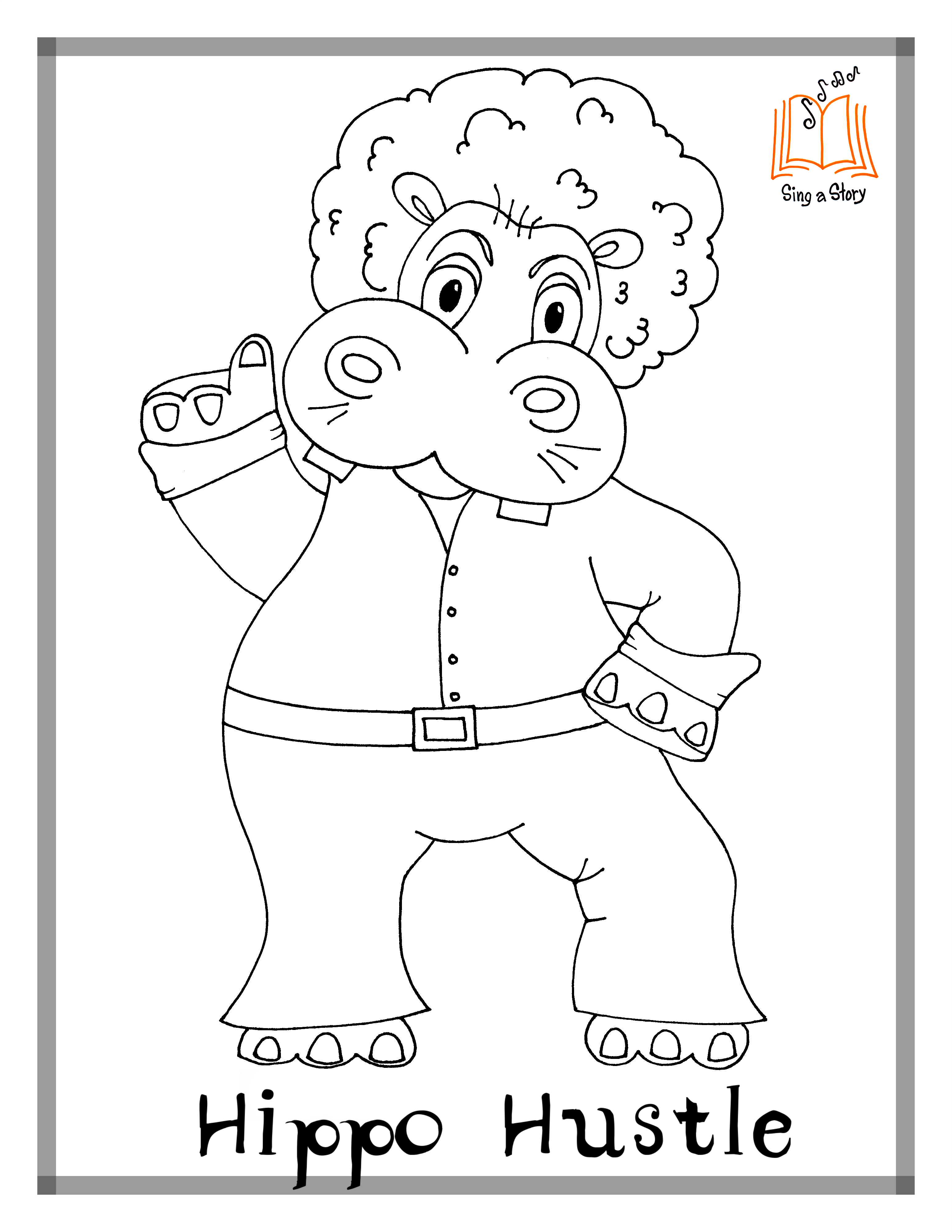 3091x4000 Hippo Hula Coloring Pages!