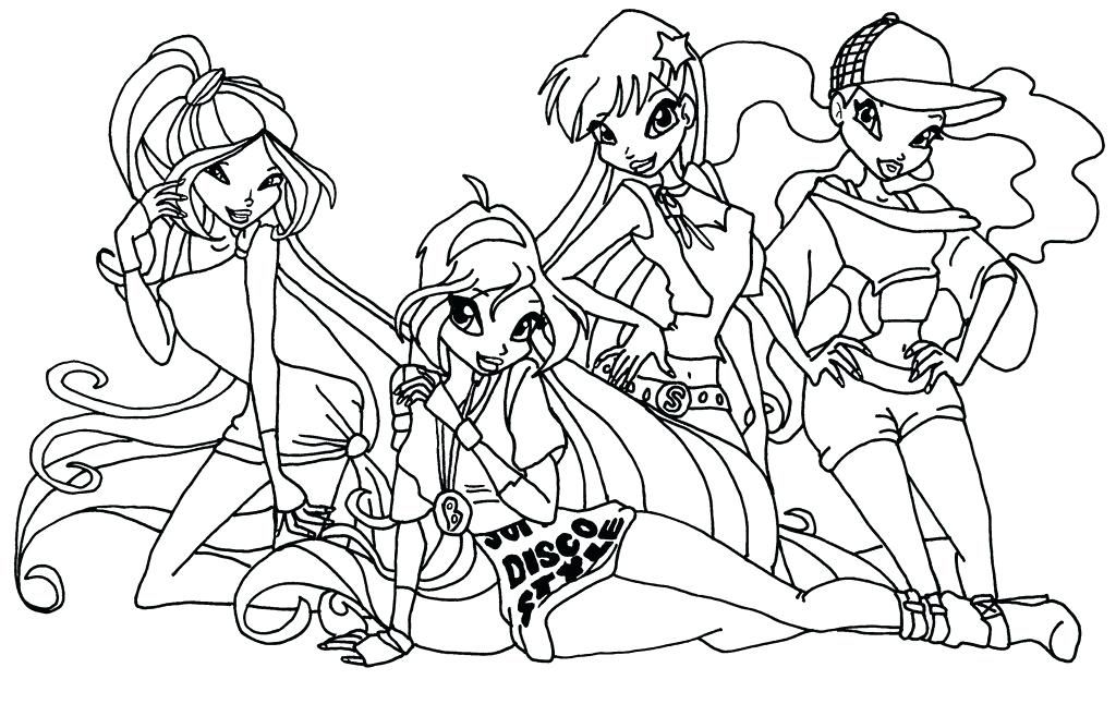 1024x646 Winx Coloring Pages Disco Girls