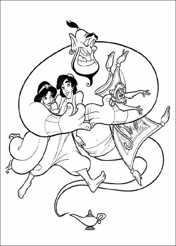 600x840 Princess Jasmine, Aladdin, Genie And Monkey Disney Coloring Page