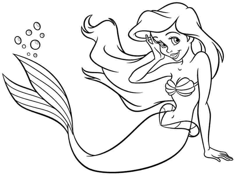 807x600 Free Coloring Pages Free Disney Princess Ariel For Kids For Kids