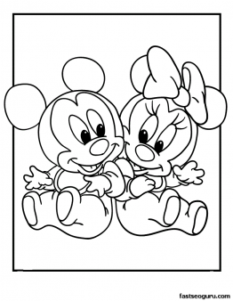 262x338 Free Printable Mickey And Minnie Disney Babies Coloring Pages