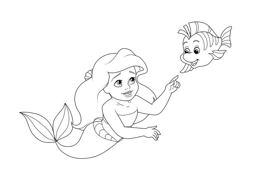 900x620 Coloring Page Ariel Little And Baby Flounder Coloring Page