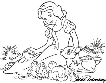 350x277 Disney Princess Snow White Playing With Animals Coloring Page