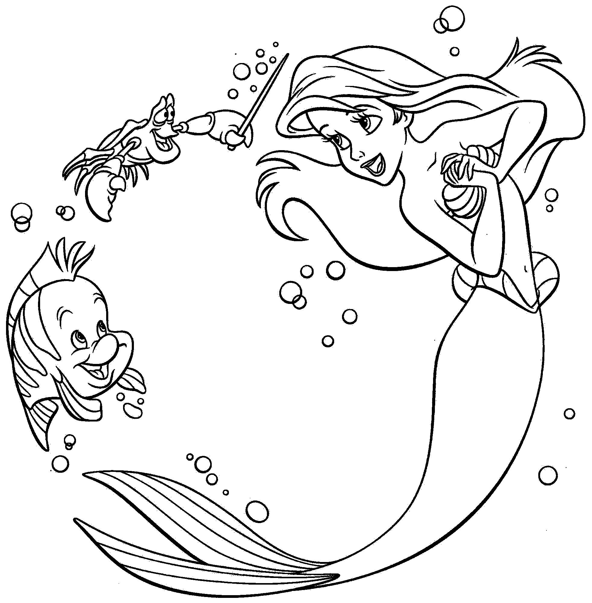 1963x2000 Ariel Playing With Sebastian Little Mermaid Coloring Pages