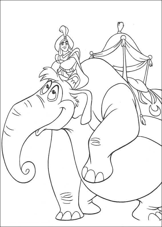 567x794 Aladdin On An Elephant Coloring Page Aladdin Pages