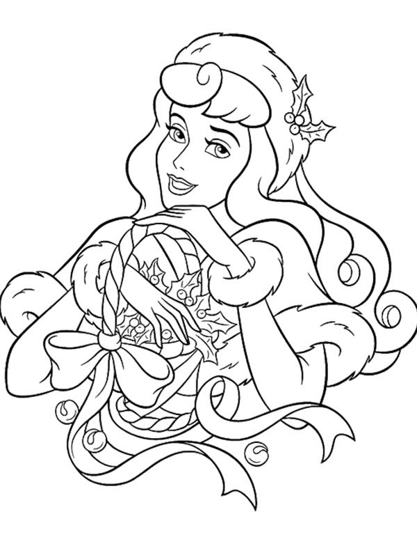 600x771 Disney Princess Christmas Coloring Pages