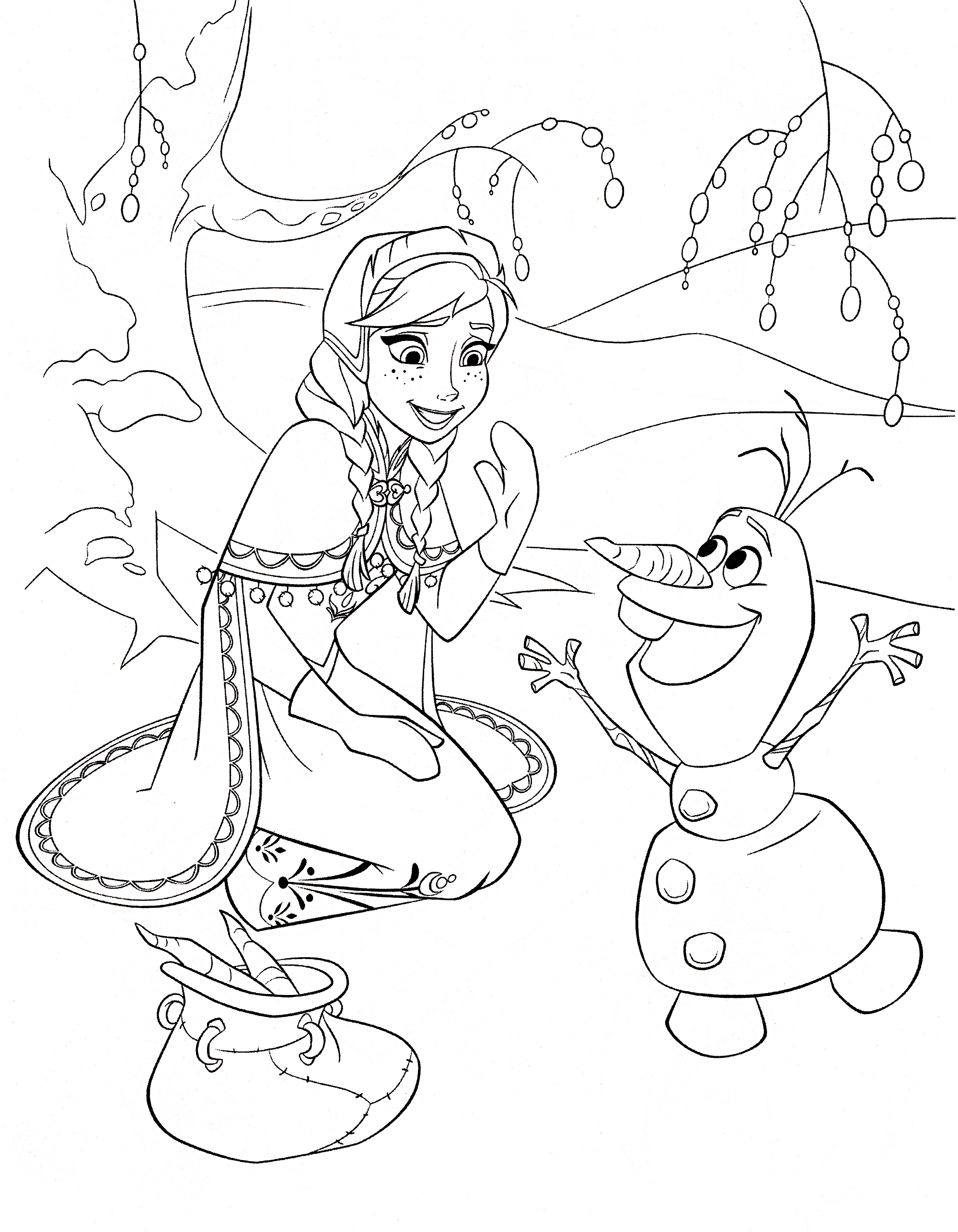 1999x2573 Disney Frozen Coloring Pages For Christmas