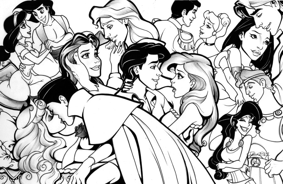 900x585 Disney Princesses Coloring Pages With Princes
