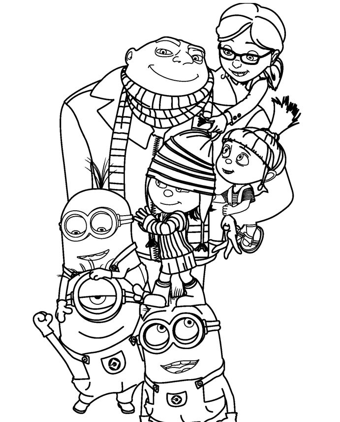 691x857 Despicable Me Coloring Page Family, Despicable Me Family