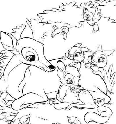 400x428 Disney Bambi And Friends Coloring Page