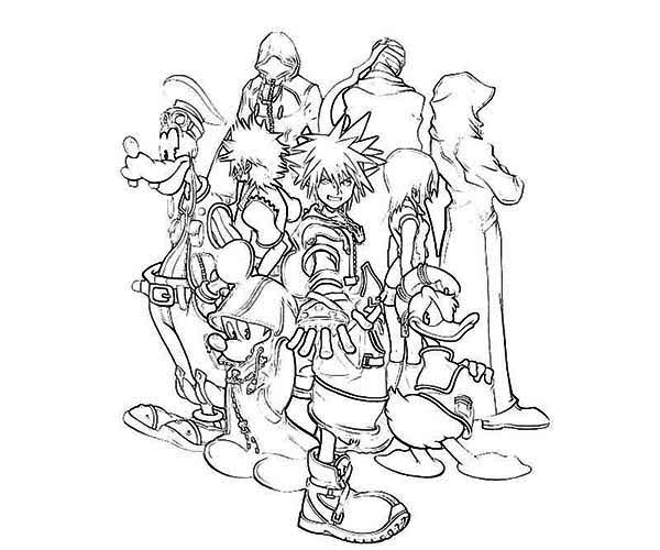 600x500 Sora And His Disney Friends Coloring Page