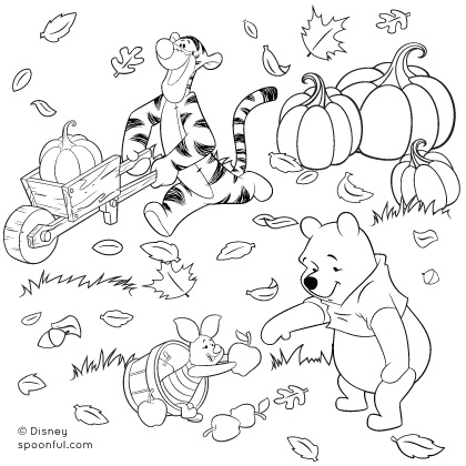 420x420 Winnie The Pooh And Friends Fall Coloring Page Disney Family