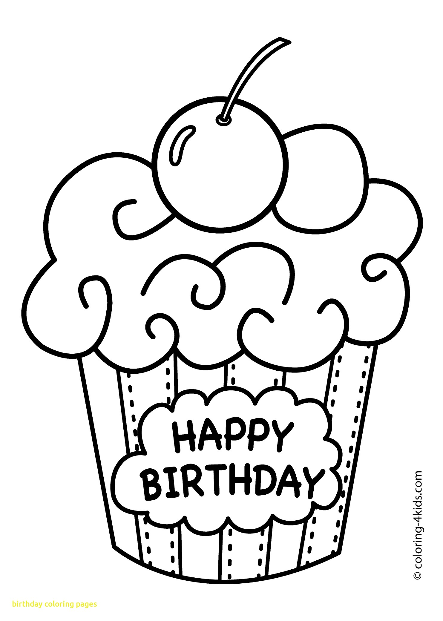 1483x2079 Fresh Birthday Coloring Pages With Cake Happy Birthday Party