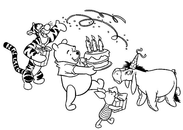 600x426 Winnie The Pooh Happy Birthday Coloring Pages Disney