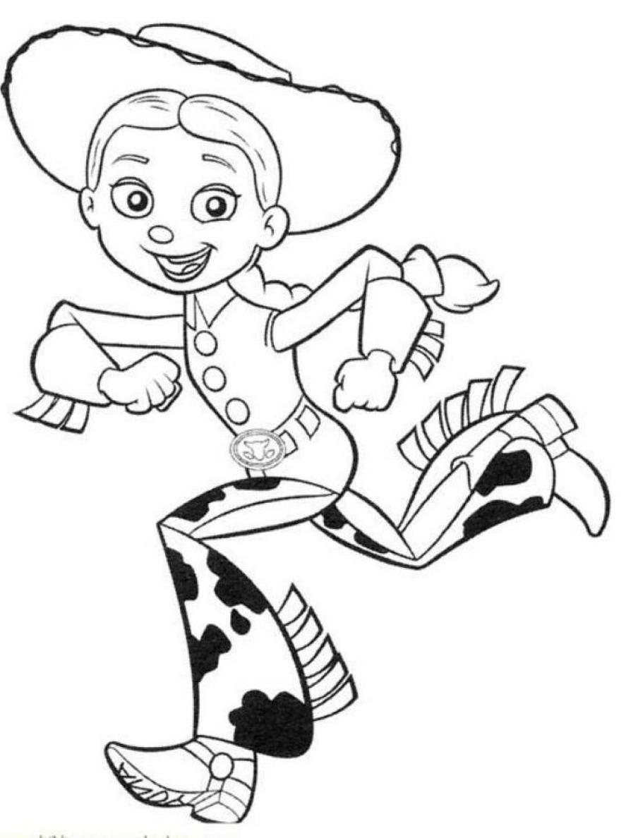887x1188 Running Jessie Free Coloring Page Disney, Kids, Toy Story