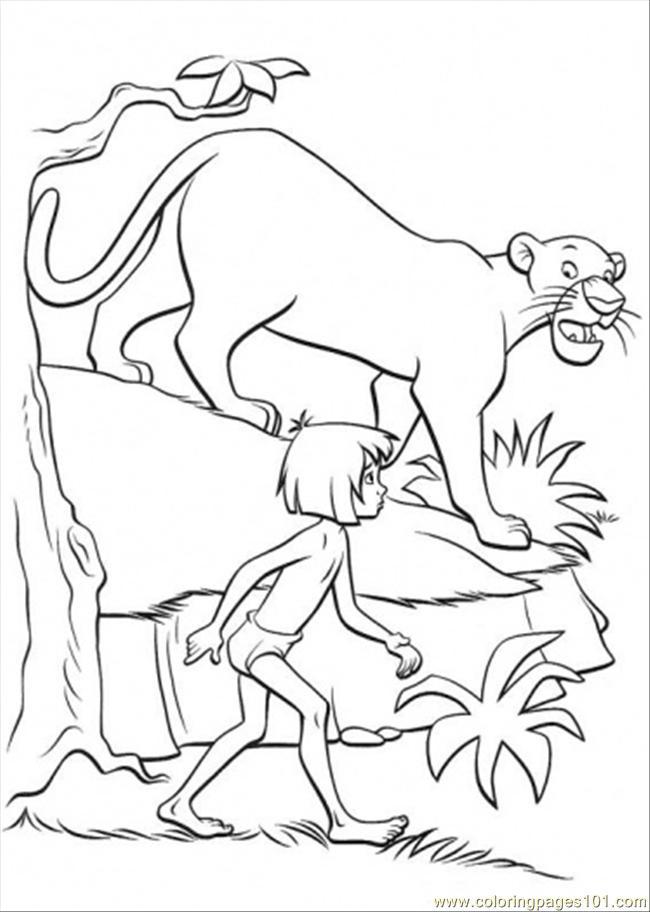 650x912 Bagheera And Mowgli Coloring Page