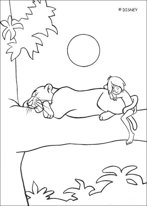 607x850 Bagheera And Mowgli Coloring Pages