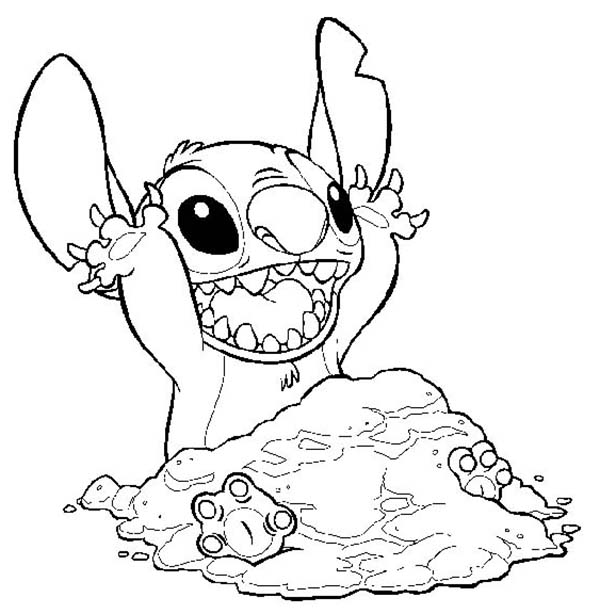 600x614 Stitch Covering Himself With Sand In Lilo Stitch Coloring Page