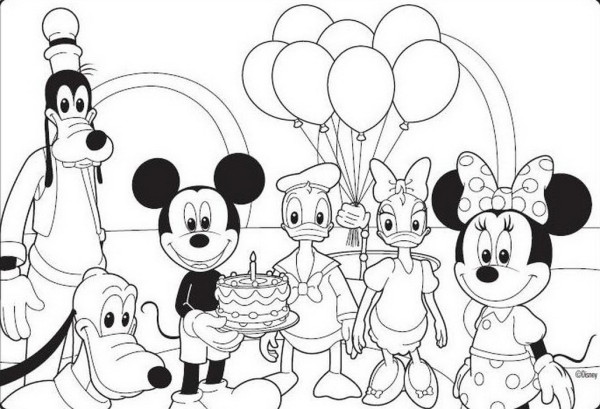 600x409 Best Disney Mickey Mouse Fruits Coloring Pages Learn