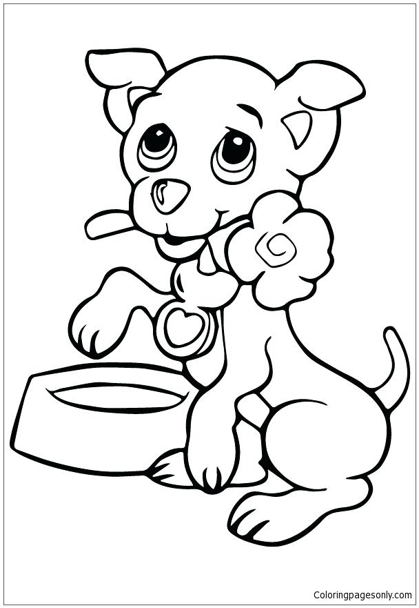 608x881 Free Coloring Pages Of Puppies Puppy And Flower Coloring Page