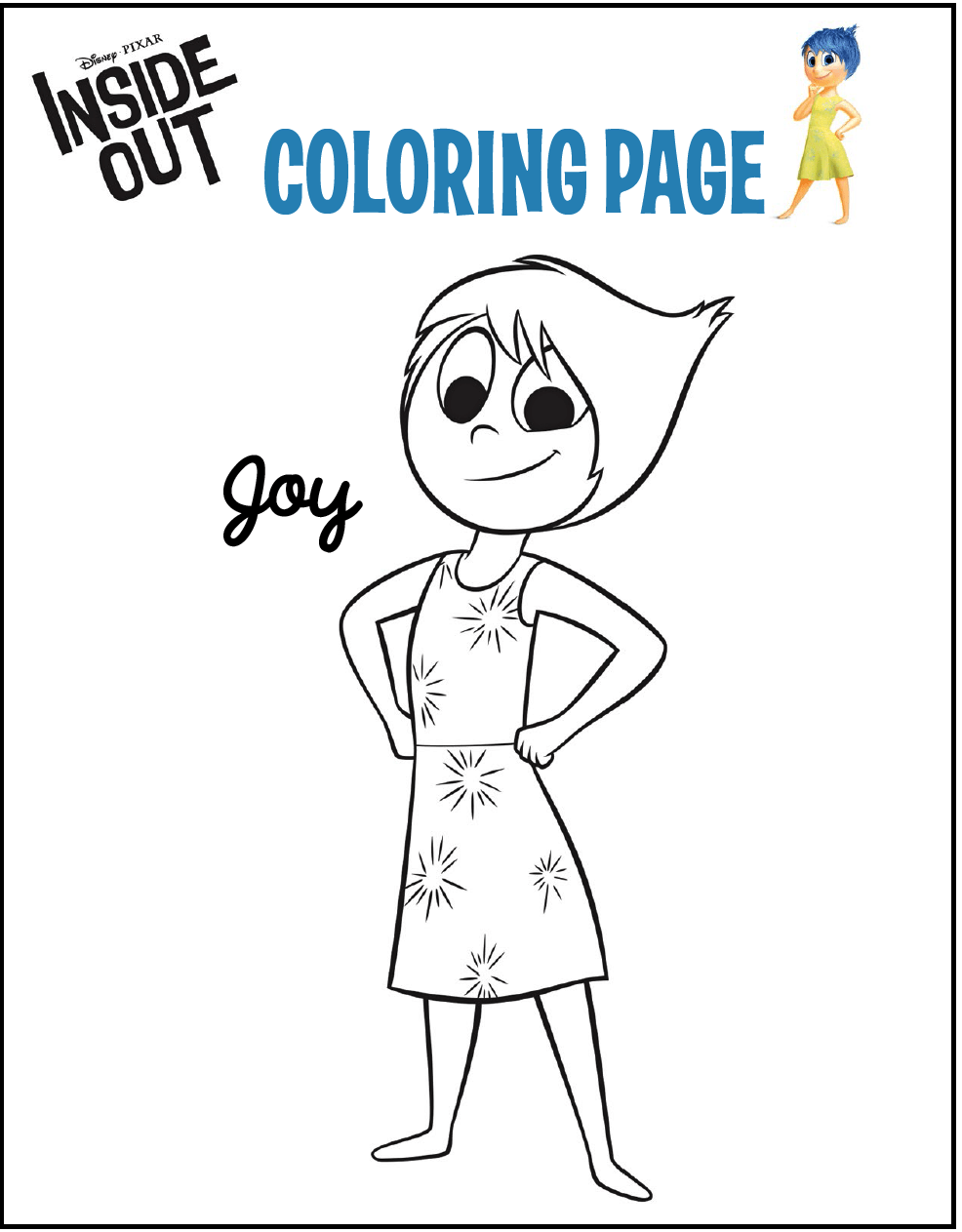 986x1263 Joy From Inside Out Coloring Page Animation Series Coloring