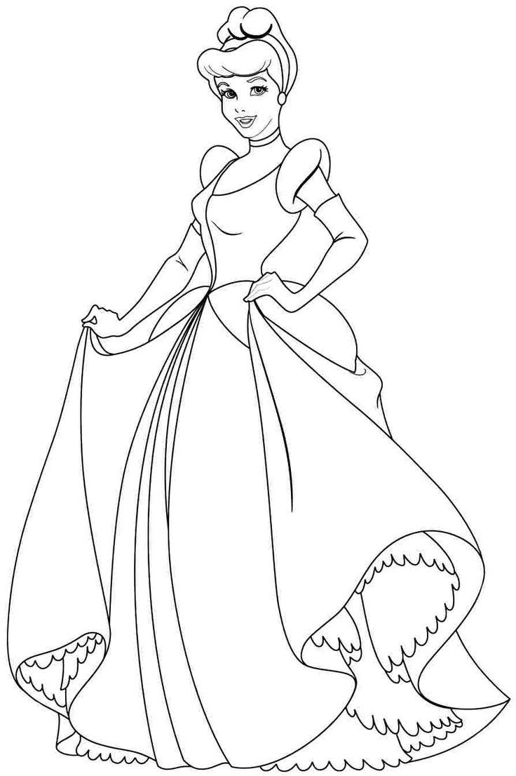 736x1106 Disney Princess Coloring Pages Cinderella Free Coloring Sheets