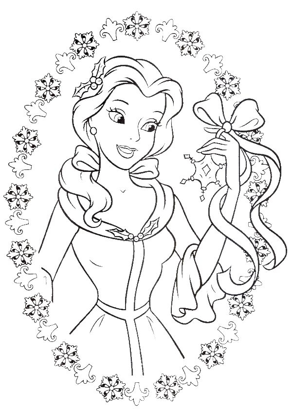 600x846 Princess Christmas Coloring Pages Collection