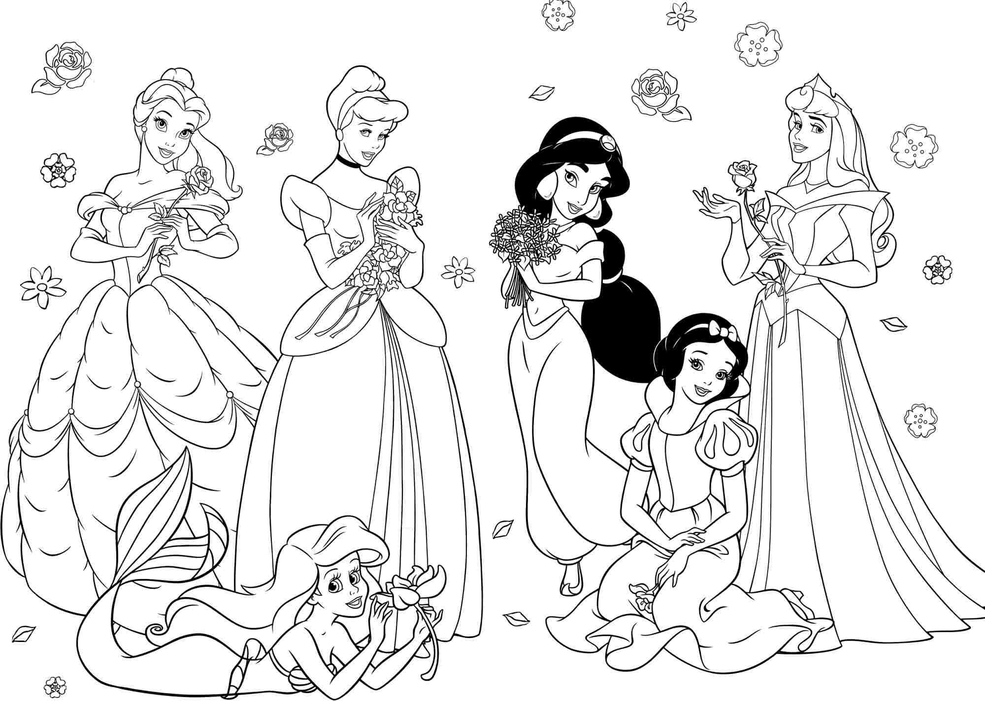 2000x1425 Disney Princesses Coloring Pages Princess For Girls Free Large