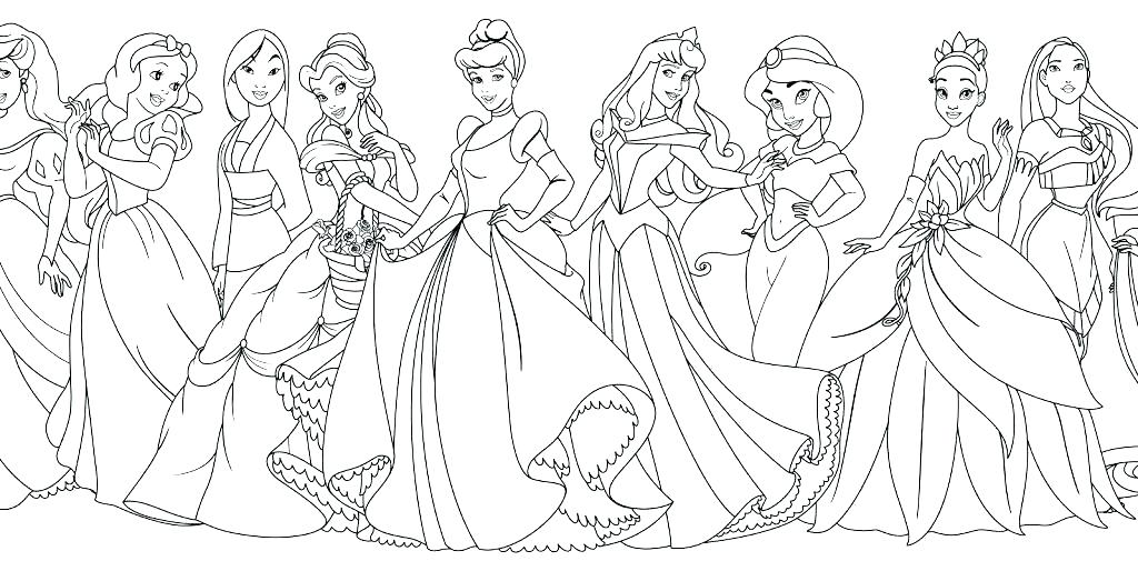 1024x514 Belle Coloring Pages Princesses Coloring Page All Princess Pages