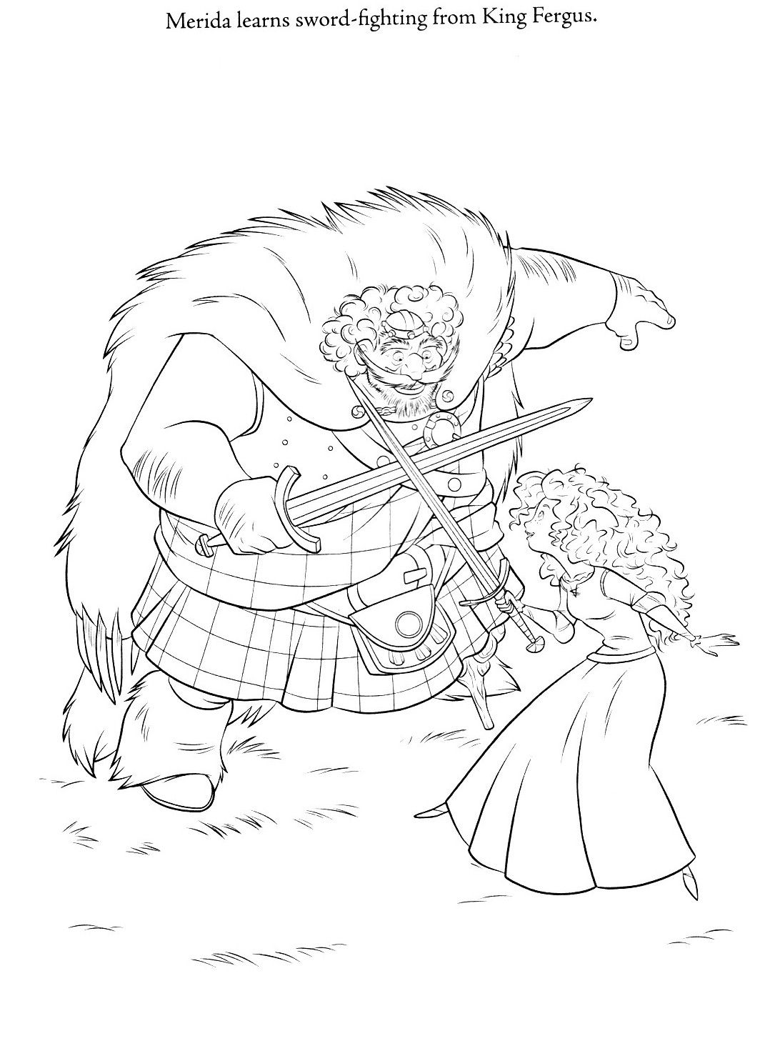 1071x1485 Coloring Page Of Merida And King Fergus