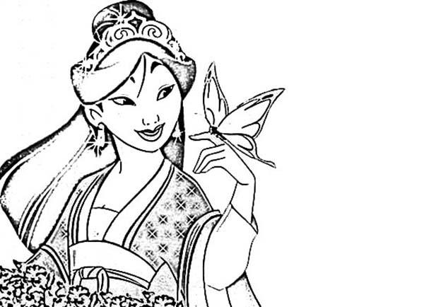 600x434 Mulan, Mulan In Her Chinese Imperial Dress Coloring Page Kids