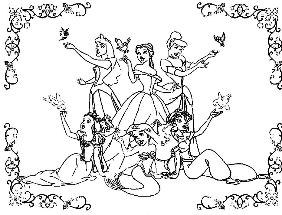 932x711 All Coloring Pages Colouring For All All Disney Princesses