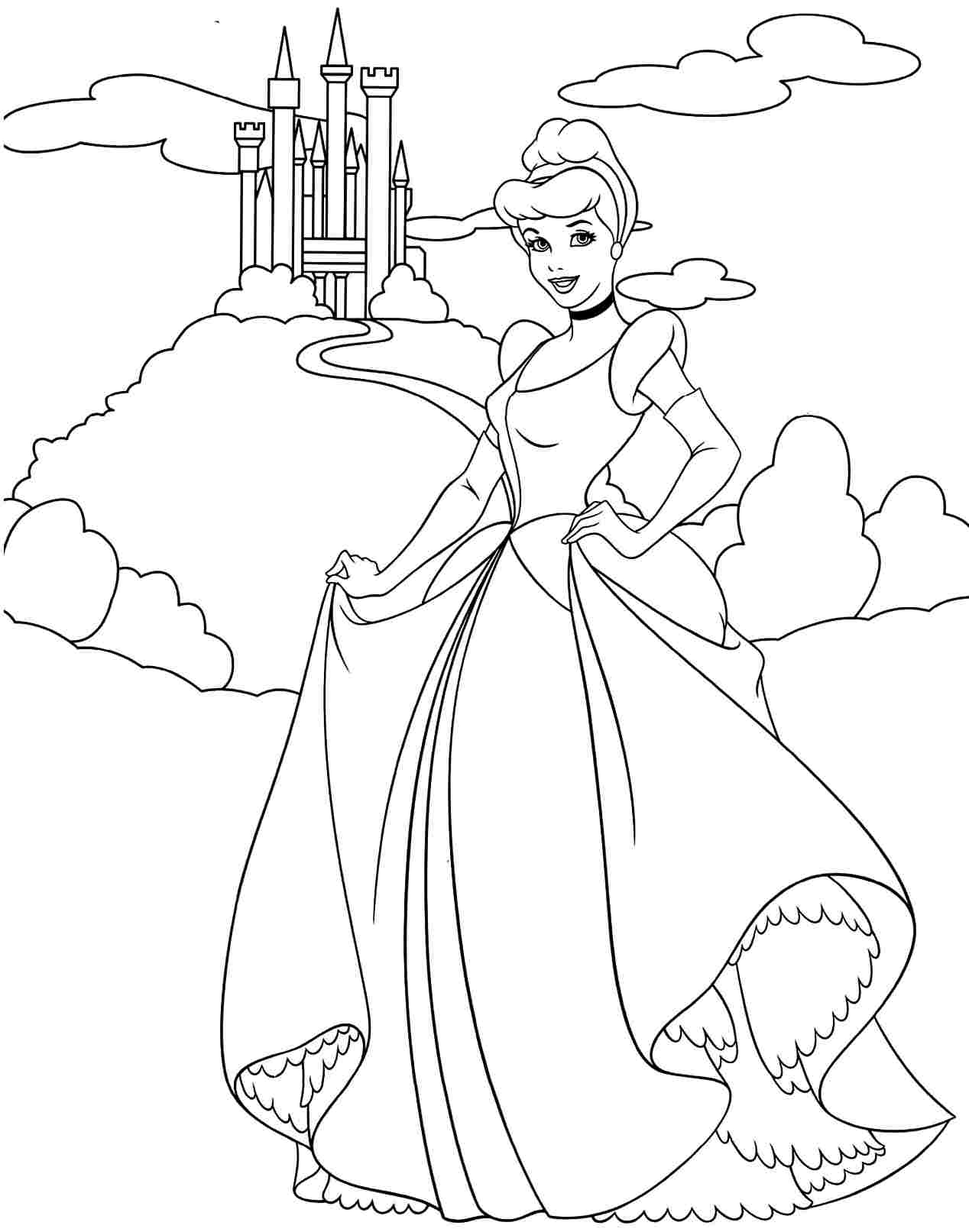1268x1613 And Disney Princess Coloring Pages Cinderella