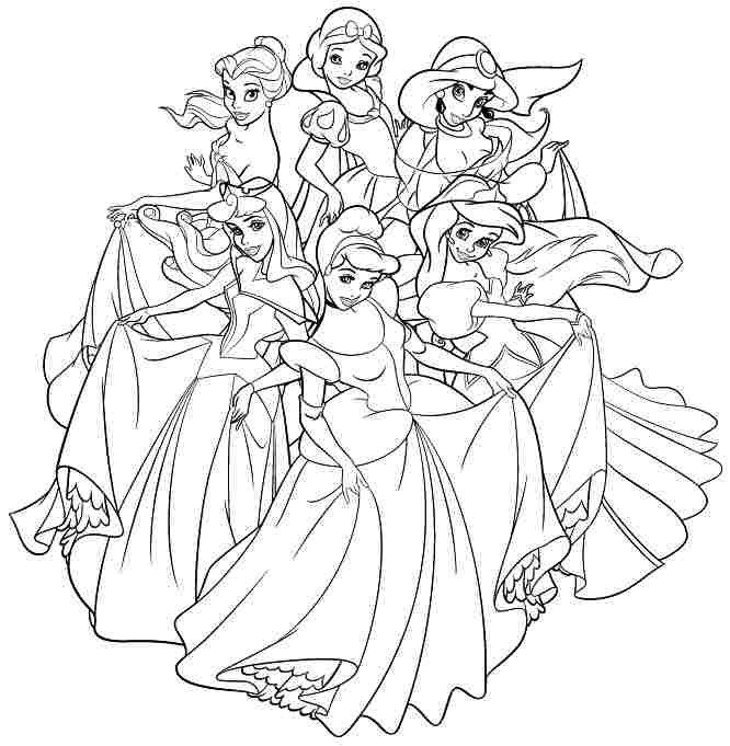 666x681 All Disney Princesses Coloring Pages