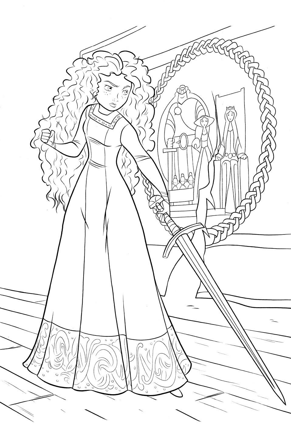 958x1404 Brave Coloring Pages Princess Merida For Kids Disney Inside Page