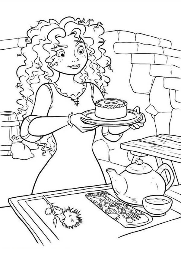 600x849 Brave Merida Serving Tea In Disney Brave Coloring Page